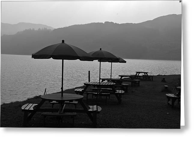 Open Air Restaurant With Tables And Chairs At The Shore Of Loch Ness Greeting Card