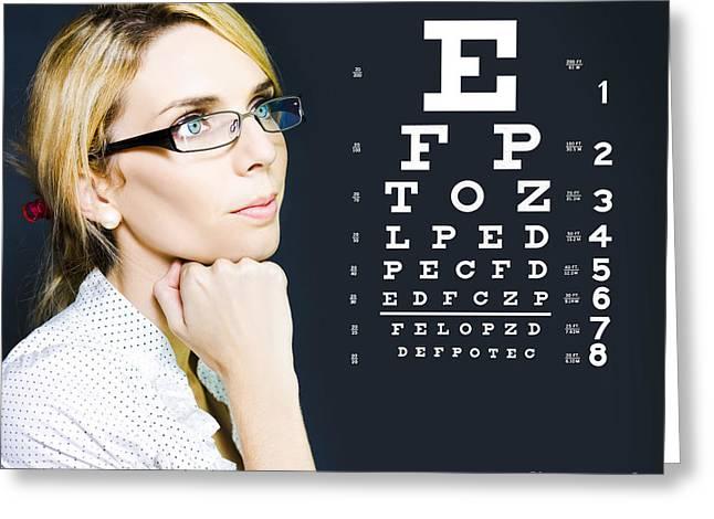 Optician Or Optometrist Wearing Eye Wear Glasses Greeting Card by Jorgo Photography - Wall Art Gallery