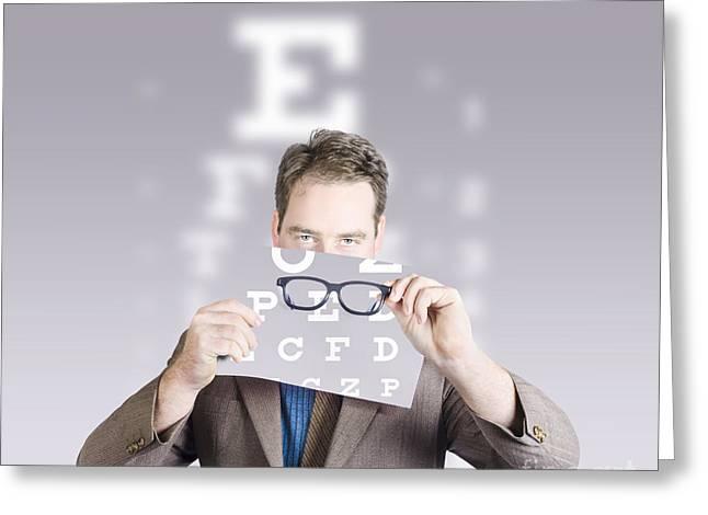 Optometrist Or Vision Doctor Holding Eye Glasses Greeting Card