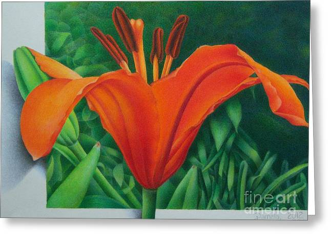 Greeting Card featuring the painting Orange Lily by Pamela Clements
