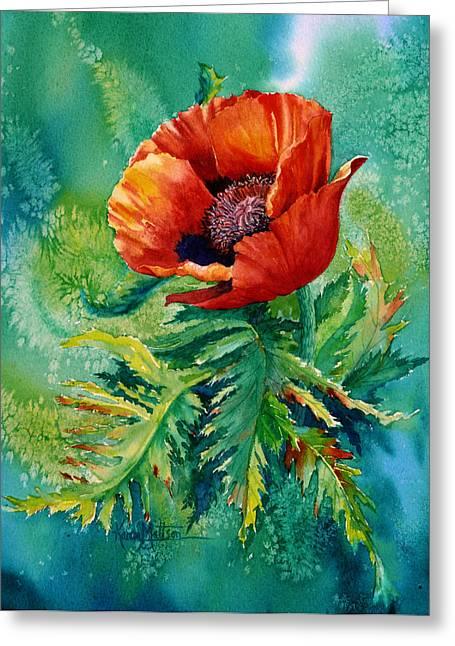 Greeting Card featuring the painting Orange Oriental Poppy by Karen Mattson