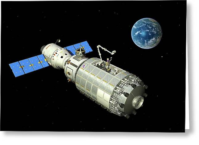 Orbital Maintenance Docking Greeting Card by Walter Myers
