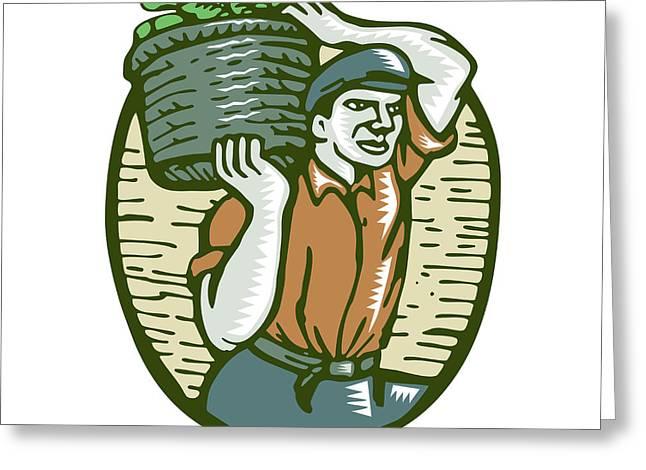 Organic Farmer Harvest Basket Woodcut Linocut Greeting Card by Aloysius Patrimonio