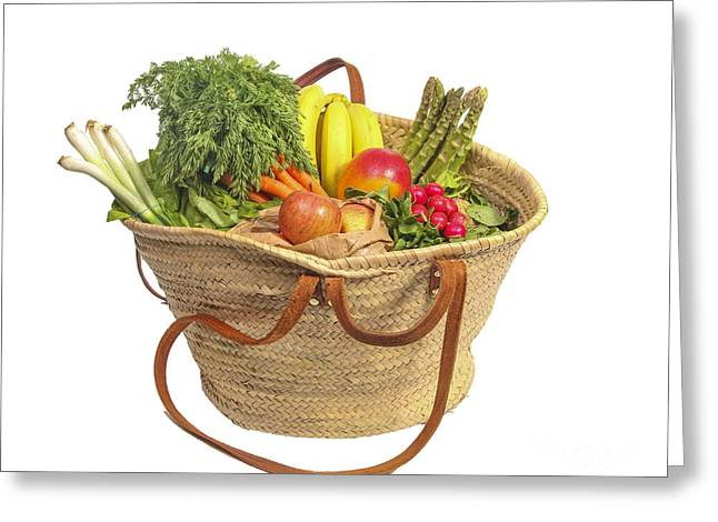 Organic Fruit And Vegetables In Shopping Bag Greeting Card by Patricia Hofmeester