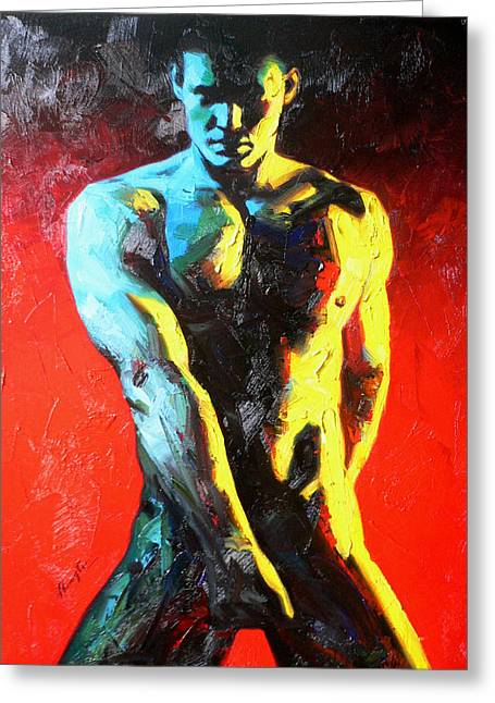 Original Abstract Oil Painting Art-male Nude By Kinfe Greeting Card