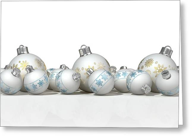 Ornate Matte White Christmas Baubles Greeting Card by Allan Swart