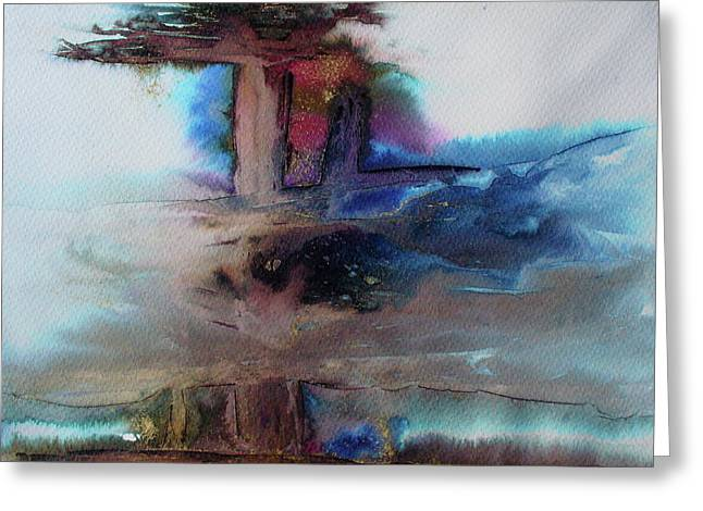 Greeting Card featuring the painting Out Of The Mist by Mary Sullivan
