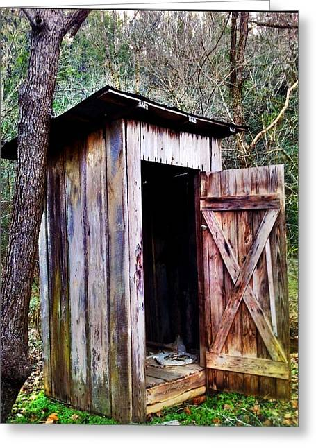 Outhouse Greeting Card by Janice Spivey