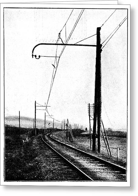 Overhead Train Power Lines Greeting Card by Science Photo Library