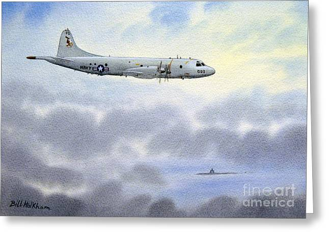 P-3 Orion Greeting Card by Bill Holkham