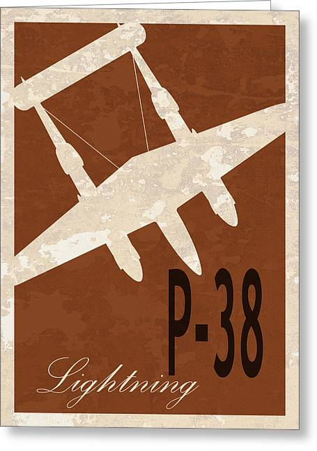 P-38 Lightning Greeting Card by Mark Rogan