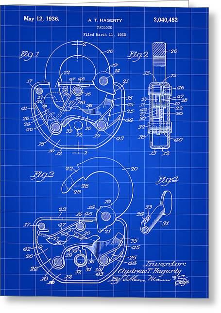 Padlock Patent 1935 - Blue Greeting Card