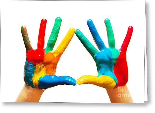 Painted Hands Greeting Card by Michal Bednarek