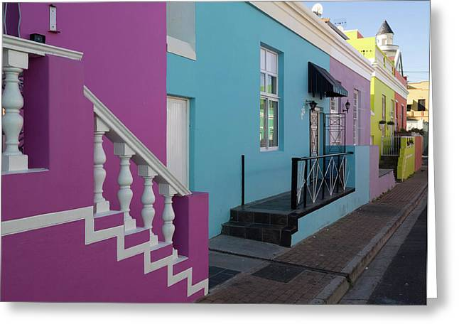 Painted Houses In A Row, Cape Malays Greeting Card by Panoramic Images