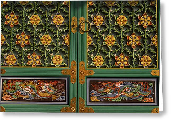 Paintings On The Door Of A Buddhist Greeting Card by Panoramic Images