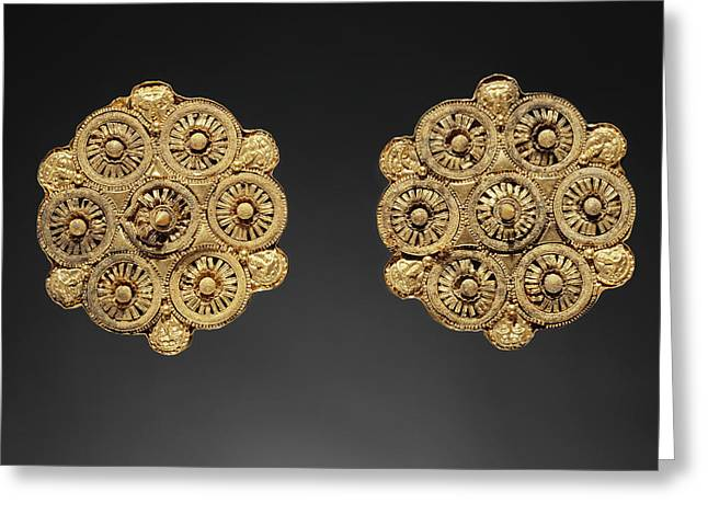 Pair Of Disk Earrings Unknown Etruria Late 6th Century B Greeting Card by Litz Collection
