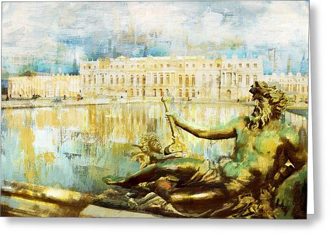 Palace And Park Of Versailles Greeting Card by Catf