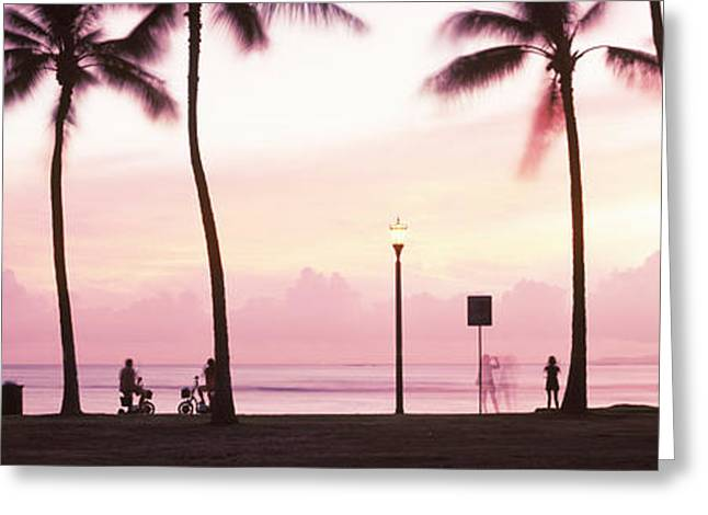Palm Trees On The Beach, Waikiki Greeting Card by Panoramic Images
