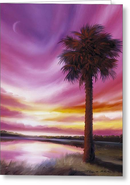 Palmetto Moon Greeting Card by James Christopher Hill