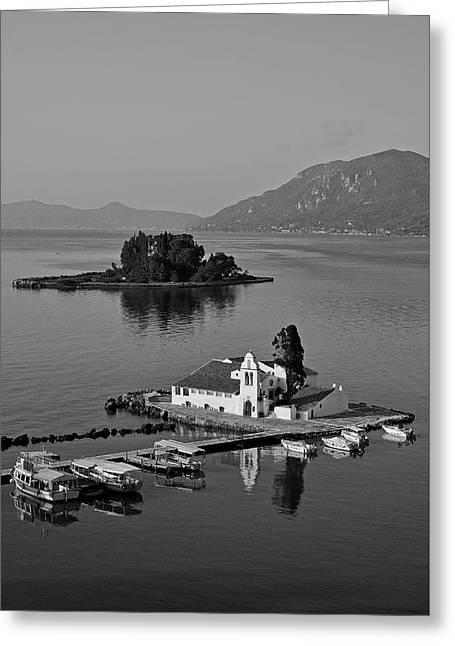 Panagia Vlachernon Chapel And Pontikonisi Islet Greeting Card by George Atsametakis