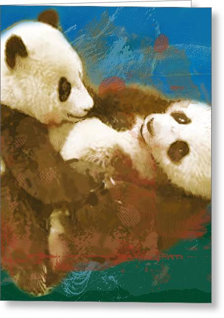 Panda - Stylised Drawing Art Poster Greeting Card by Kim Wang