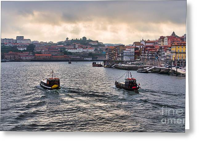 Panorama Of Duoro River Porto Greeting Card by Frank Bach