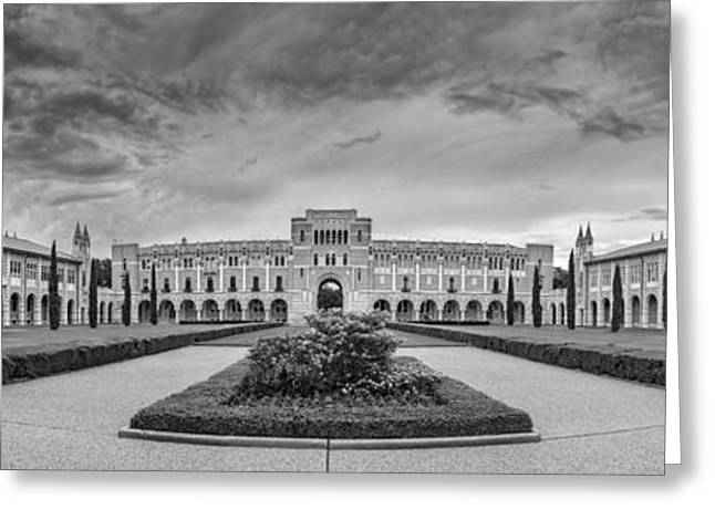 Panorama Of Rice University Academic Quad Black And White - Houston Texas Greeting Card