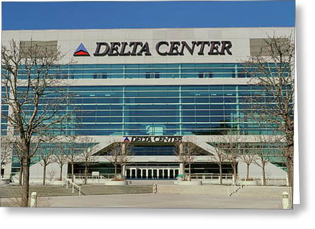 Panoramic Of Delta Center Building Greeting Card