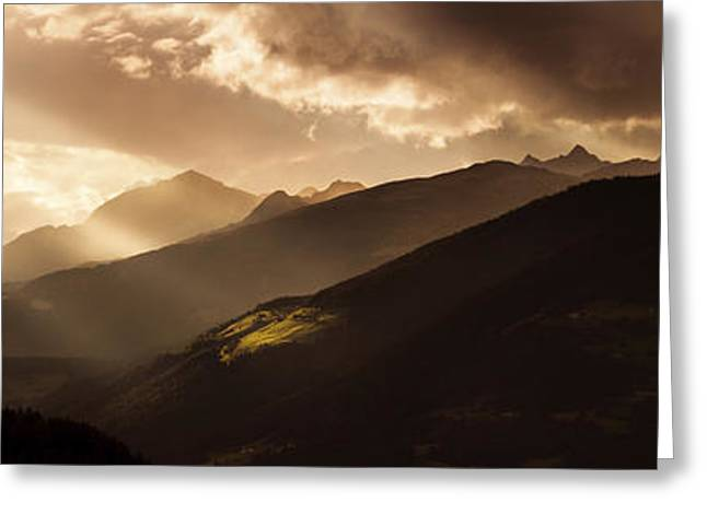 Panoramic View Of Dolomite Alps Greeting Card by Evgeny Kuklev