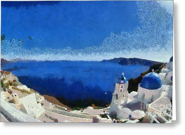 Panoramic View Of Oia Town Greeting Card
