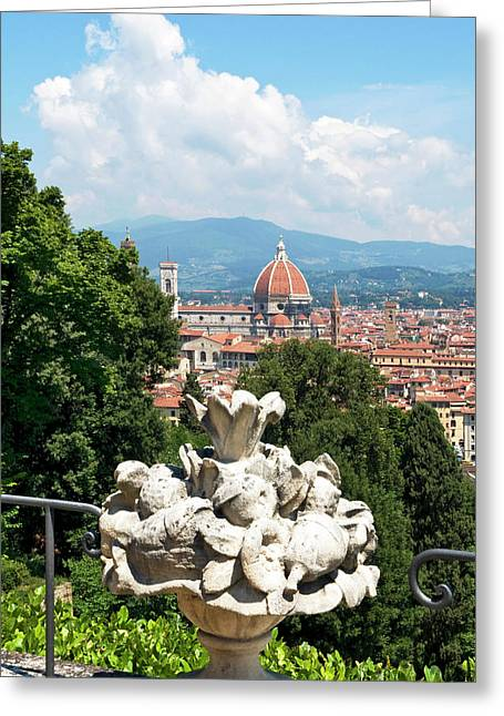 Panoramic View Out Over Florence Greeting Card by Nico Tondini