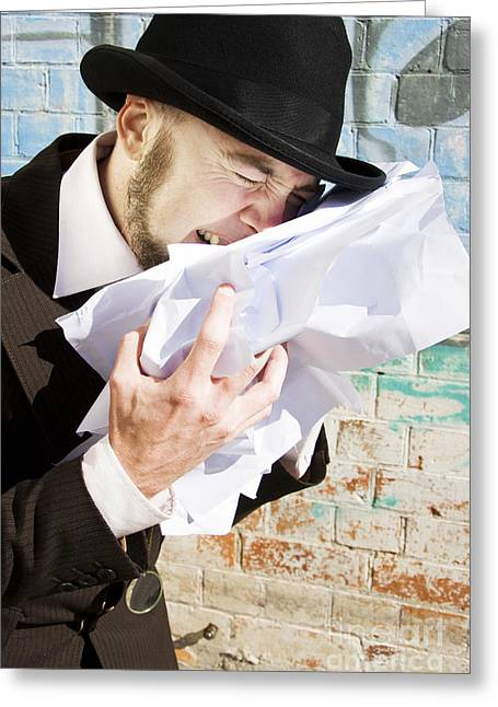 Paperwork Blues Greeting Card by Jorgo Photography - Wall Art Gallery