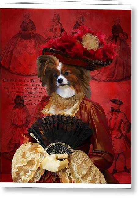 Papillon - Continental Toy Spaniel Art Canvas Print Greeting Card