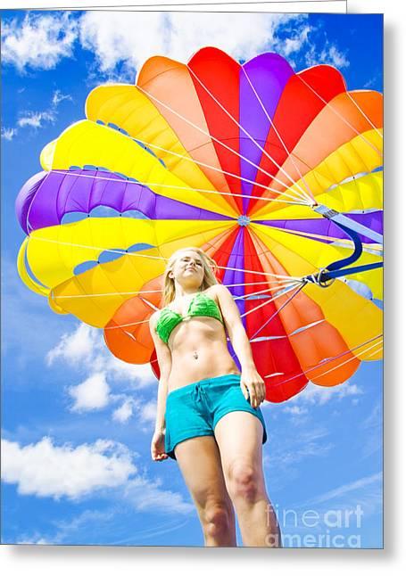 Parasailing On Summer Vacation Greeting Card
