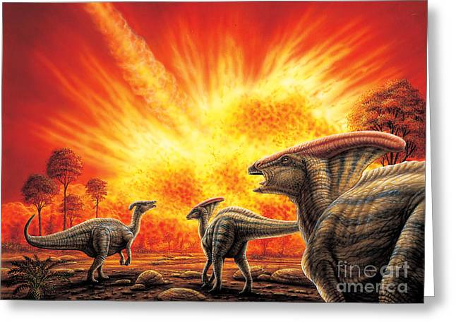 Parasaurolophus Meteor Strike Greeting Card by Phil Wilson