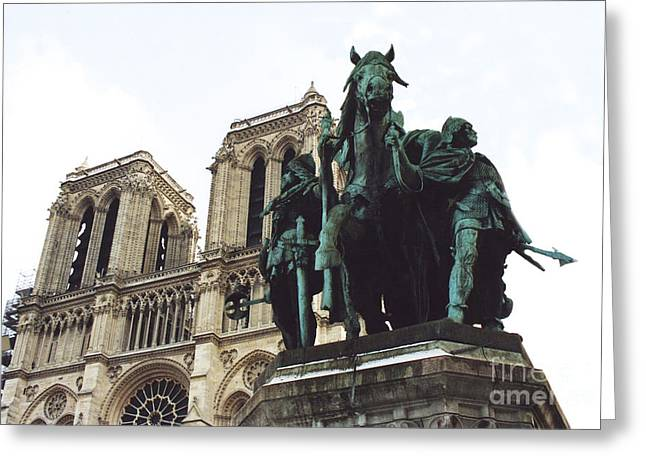 Paris Charlemagne Notre Dame Cathedral Sculpture Monument Landmark - Paris Charlemagne Monument Greeting Card by Kathy Fornal