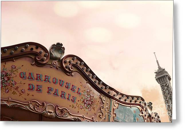 Paris Eiffel Tower And Carousel Merry Go Round - Paris Carousels Champ Des Mars Eiffel Tower Greeting Card by Kathy Fornal