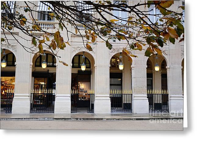Paris Palais Royal Architecture Lanterns - Paris Palais Royal Gardens  - Paris Autumn Fall Trees Greeting Card
