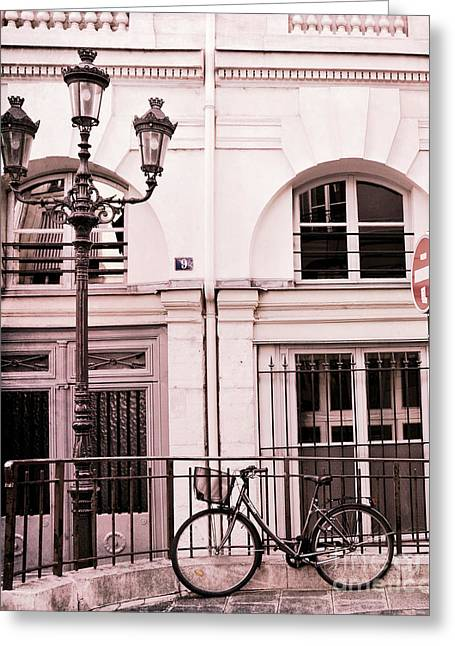 Paris Pink Bicycle With Street Lamps - Paris Bicycle Pink Black Architecture Street Lanterns Greeting Card by Kathy Fornal