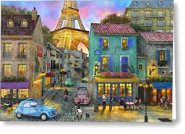 Paris Streets Greeting Card by Dominic Davison