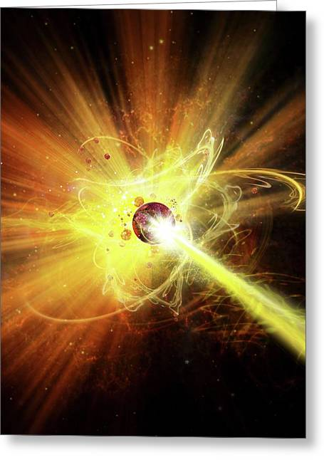 Particle Collision Greeting Card by Harald Ritsch