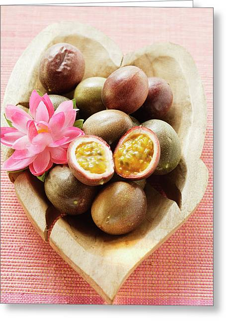 Passion Fruits (purple Granadilla) In Wooden Bowl Greeting Card