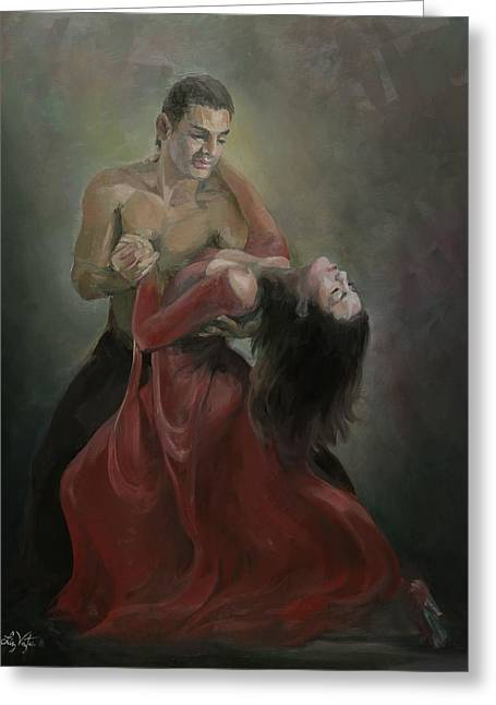 Passionate Paso Doble Greeting Card by Liz Viztes
