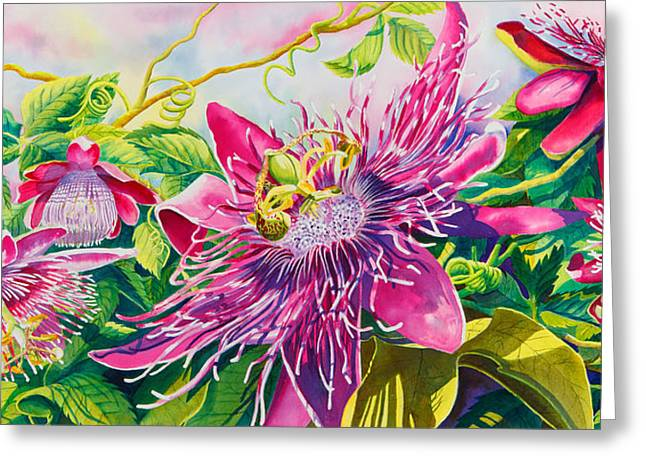 Passionflower Party Greeting Card by Janis Grau
