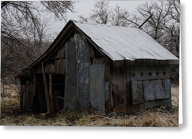 Patchwork Barn With Icicles Greeting Card