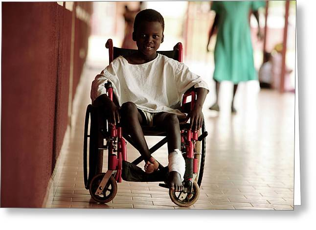 Patient In A Wheelchair Greeting Card by Mauro Fermariello/science Photo Library