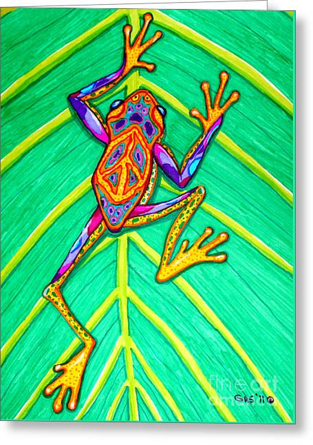 Peace Frog Greeting Card by Nick Gustafson