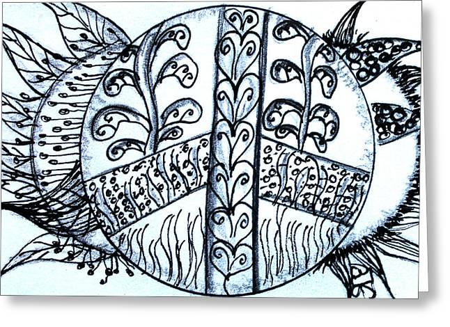 Peace Sun Flower Greeting Card by Barbara Giordano