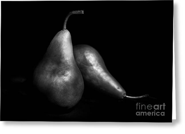 Pears Still Life By Light Painting Greeting Card by Vishwanath Bhat