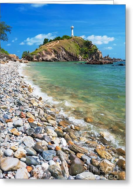 Pebble Beach Greeting Card by Atiketta Sangasaeng